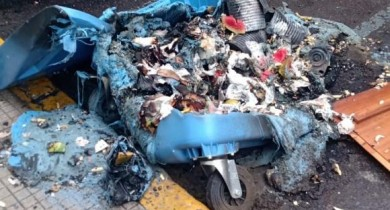 Container de lixo na área Central de Bento é incendiado